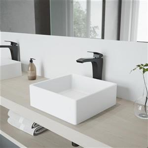 VIGO Vessel Bathroom Sink with Faucet - White