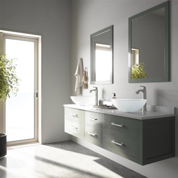 VIGO Glass Vessel Bathroom Sink with Faucet - White