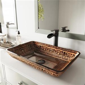 Vasque de salle de bain et robinet, rectangulaire