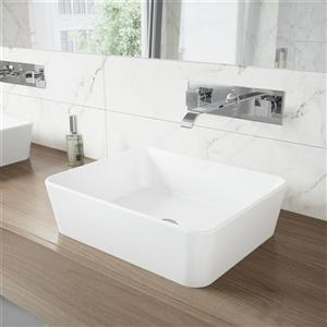 Vigo Vessel Bathroom Sink with Wall Mount Faucet - White