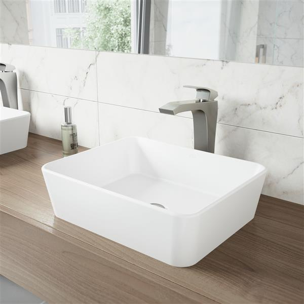VIGO Vessel Bathroom Sink With Vessel Faucet - White