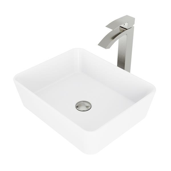 VIGO Vessel Bathroom Sink With Vessel Faucet - White