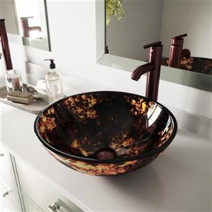 Vasque de salle de bain et robinet, doré et ambré