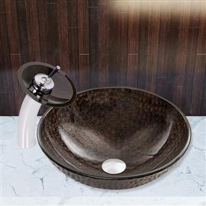 VIGO Glass Vessel Bathroom Sink and Waterfall Faucet - Copper