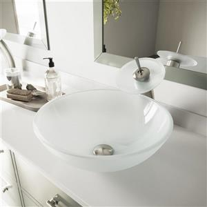 VIGO Glass Vessel Bathroom Sink and Waterfall Faucet - White