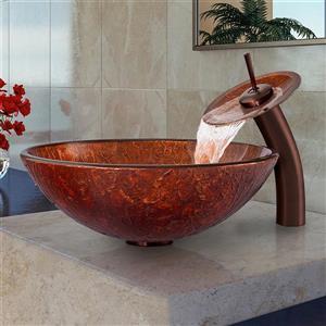 Ensemble évier de salle de bain et robinet en cascade