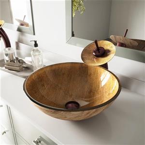 Ensemble de vasque et robinet en cascade, ambré