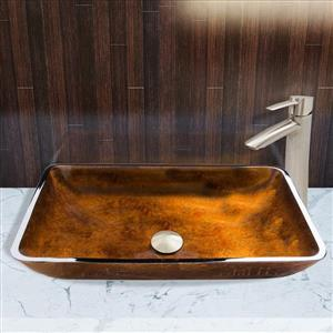 Glass Vessel Bathroom Sink with Vessel Faucet - 22''