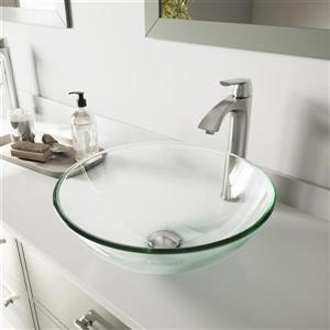 Vasque de salle de bain avec robinet, cristallin