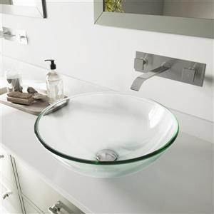 Vasque de salle de bain et robinet, cristallin