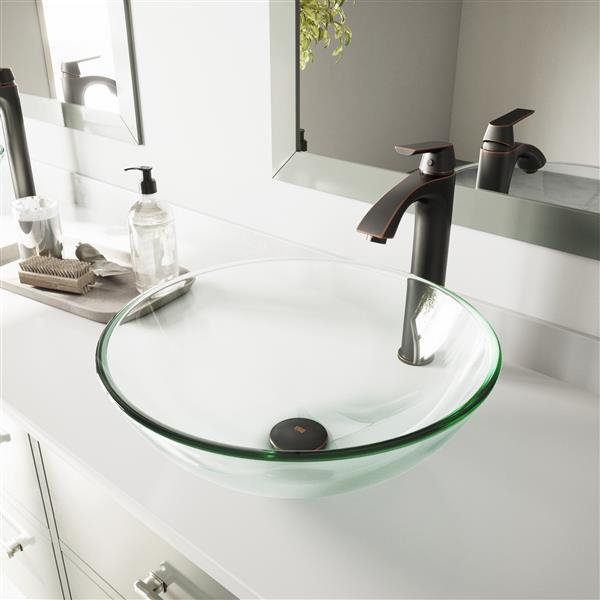 VIGO Glass Vessel Bathroom Sink with Faucet - Crystalline