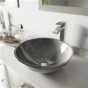 VIGO Glass Vessel Bathroom Sink with Faucet - Silver