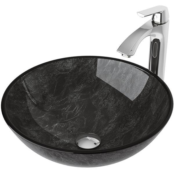 Ensemble de vasque de salle de bain et robinet, onyx
