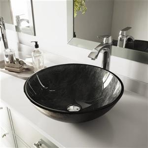 VIGO Glass Vessel Bathroom Sink with Faucet - Onyx