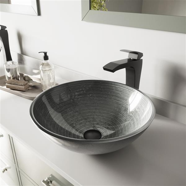 VIGO Glass Vessel Bathroom Sink with Vessel Faucet - Silver