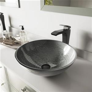 Ensemble de vasque de salle de bain et robinet, argent