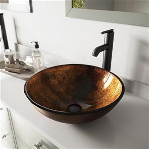 Ensemble de vasque de salle de bain et robinet, rouille