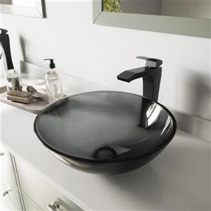 Glass Vessel Bathroom Sink with Faucet - Black