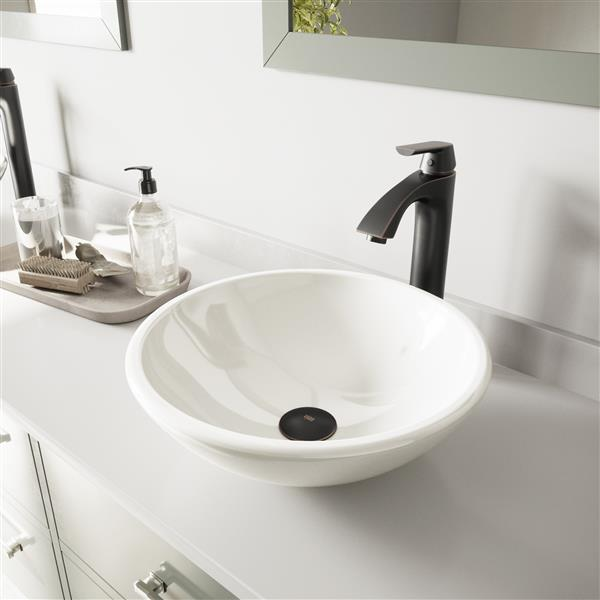 Vessel Bathroom Sink With Vessel Faucet - White