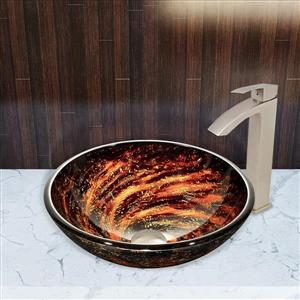 Glass Vessel Bathroom Sink with Faucet - Northern Lights