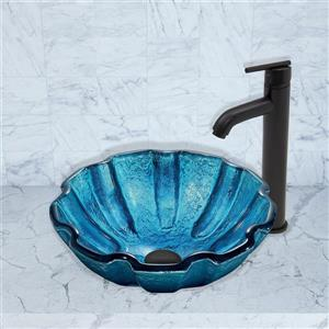 Glass Vessel Bathroom Sink with Faucet - Blue