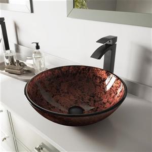 Vasque de salle de bain et robinet, acajou
