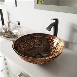Ensemble de vasque de salle de bain et robinet, doré