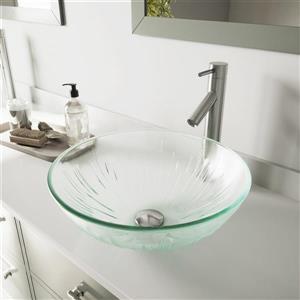 Ensemble de vasque de salle de bain et robinet, glace