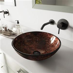 Vigo Glass Vessel Bathroom Sink With Wall Mount Faucet