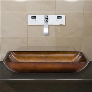 Glass Vessel Bathroom Sink with Wall Mount Faucet - 22''