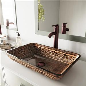 VIGO Glass Vessel Bathroom Sink with Vessel Faucet