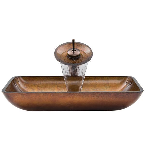 VIGO Glass Vessel Bathroom Sink and Waterfall Faucet - 22-in