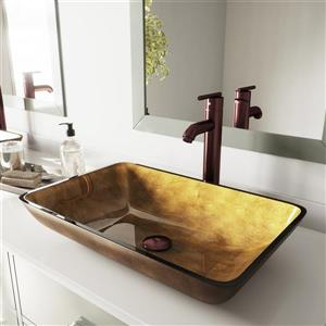 VIGO Glass Vessel Bathroom Sink - Copper