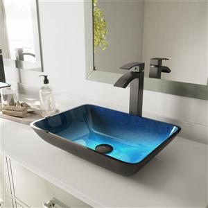 VIGO Glass Vessel Bathroom Sink - Turquoise