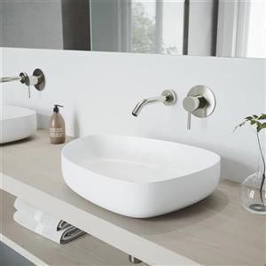Robinet de salle de bain mural Olus, nickel brossé