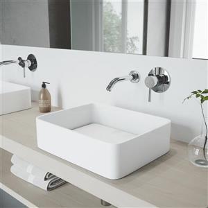 Robinet de salle de bain mural chromé, Olus