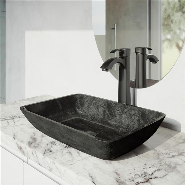 Robinet pour vasque de salle de bain noir mat, Otis