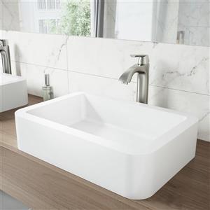 Robinet pour vasque de salle de bain, nickel brossé