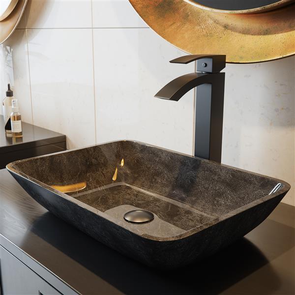 Robinet pour vasque de salle de bain Duris, noir mat