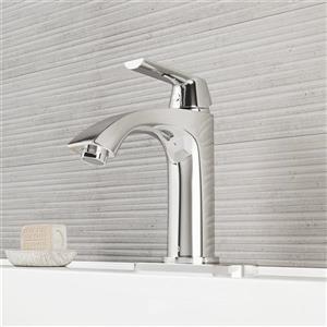 Penela Single Hole Bathroom Faucet With Deck Plate - Chrome