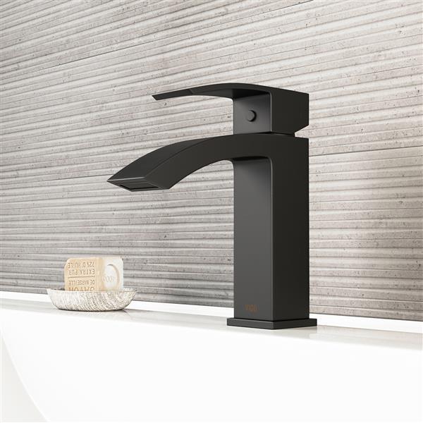 Robinet de salle de bain monotrou Satro, noir mat