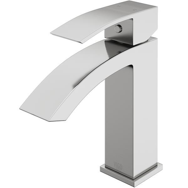 Robinet de salle de bain monotrou, nickel brossé