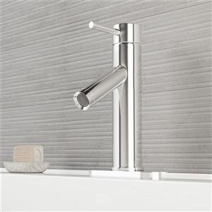 Robinet de salle de bain monotrou avec applique, chrome