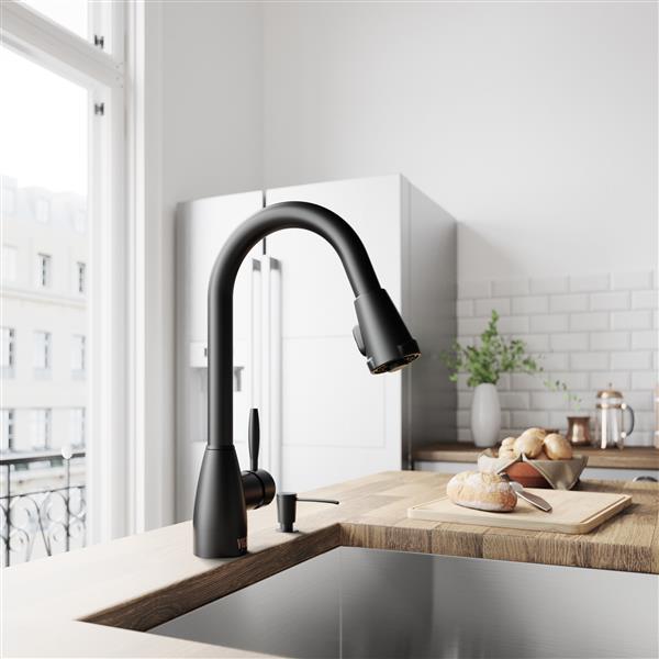 Vigo Graham Pull Down Spray Kitchen Faucet In Matte Black