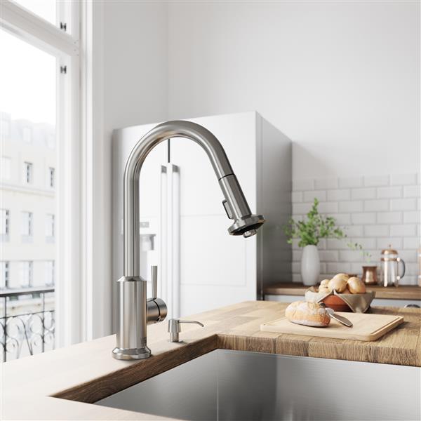 VIGO Astor Pull-Down Spray Kitchen Faucet - Stainless Steel