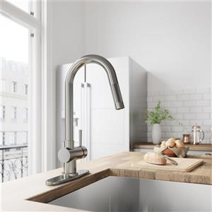 Vigo Gramercy Pull-Down Kitchen Faucet With Deck Plate