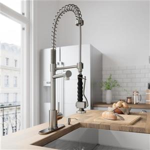 VIGO Zurich Pull-Down Spray Kitchen Faucet With Deck Plate