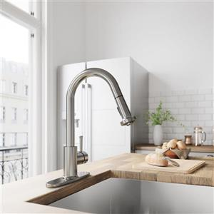 VIGO Harrison Pull-Down Spray Kitchen Faucet With Deck Plate