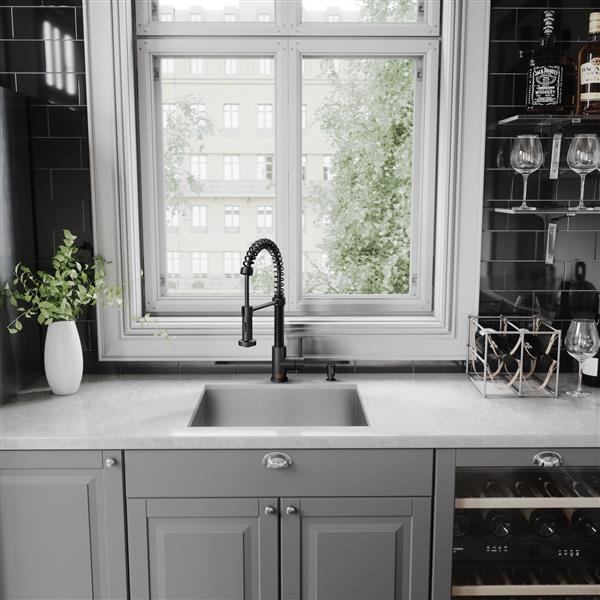Robinet de cuisine avec douchette rétractable, noir mat