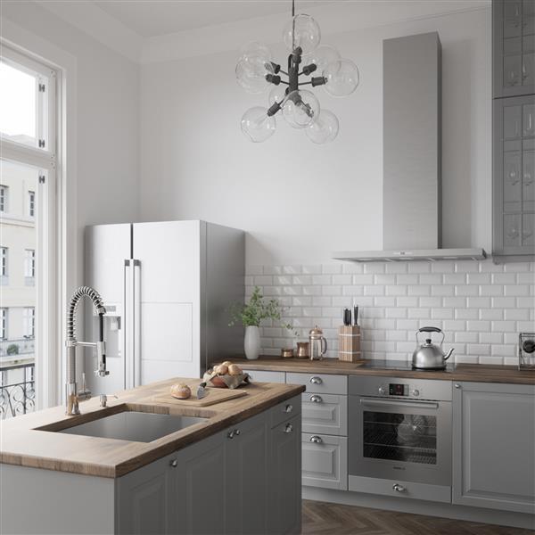 Robinet de cuisine avec douchette rétractable, chrome